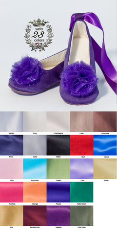Purple Flower Girl Shoe, Satin Baby Ballet Slipper