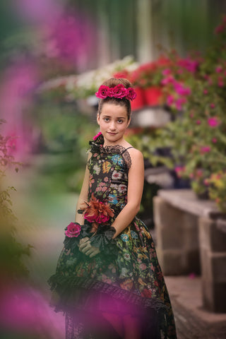 Annabelle - Floral Silk Organza Print High Low Girls Dress