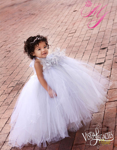 Girls Tutu Dress Silver white