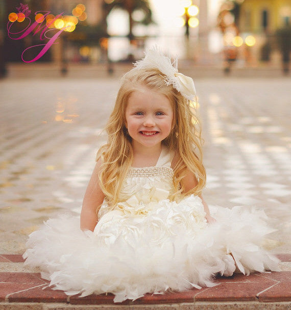 Sweet Angel Girls Petal Rosette Feather Dress Melissajane