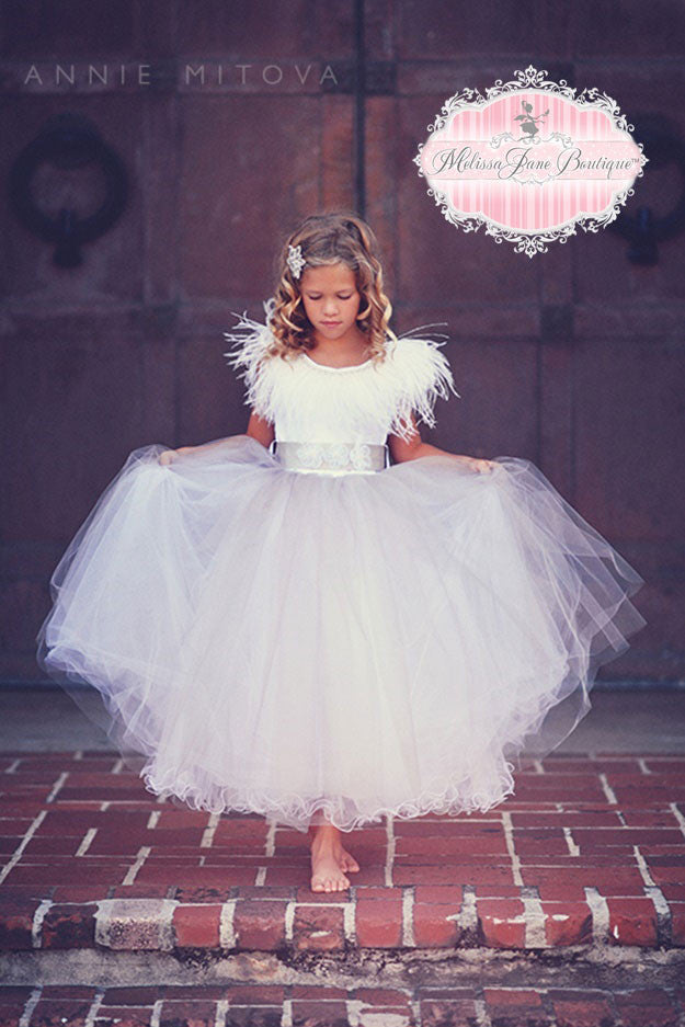 42ff6f5f143 Beautiful Flower Girl Dresses. View Collection. Couture Feathers Dresses