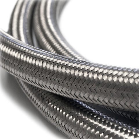 Hose (per-foot) - Silver Stainless-steel braided