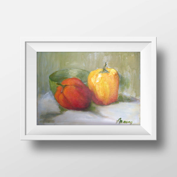 "Two bell peppers - oils on canvas, 8"" x 10"", sold without a frame"
