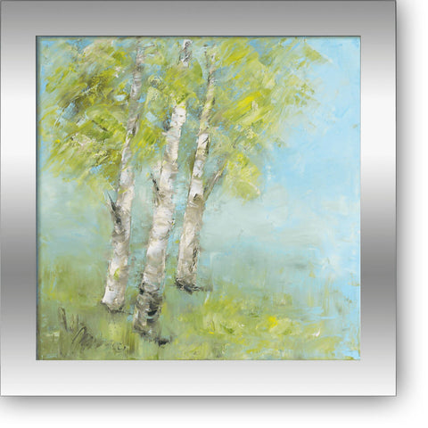 "Birch trees in Summer - oil on canvas 12"" x 12"", sold without a frame"