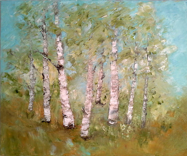 "Birch trees in Summer - oil painting 20"" x 24"""