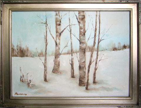 "Aspen in Winter - oil on canvas, 18"" x 24"", sold without the frame"