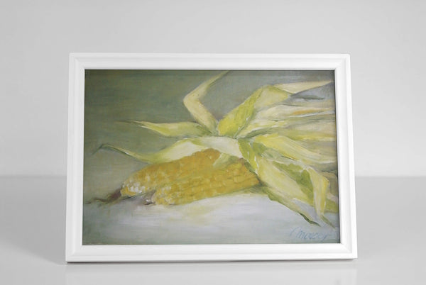 "Corn ears - oil on canvas 11"" x 14"", sold without a frame"