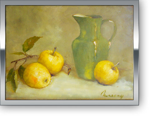 "Green vase and apples - oil on canvas 11"" x 14"" sold without a frame"