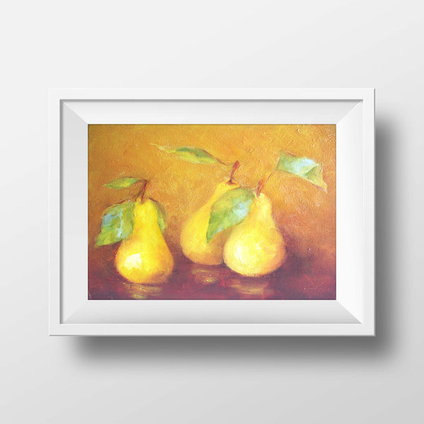 "Three yellow pears with leaves - oil on canvas 9"" x 12"", sold without a frame"