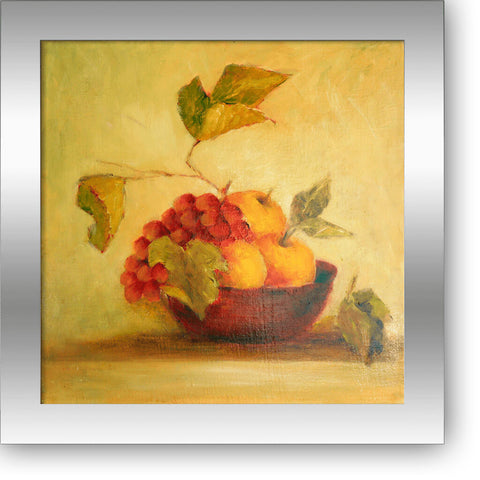 "Red bowl with grapes and apples - oil on canvas 14"" x 14"", sold without a frame"
