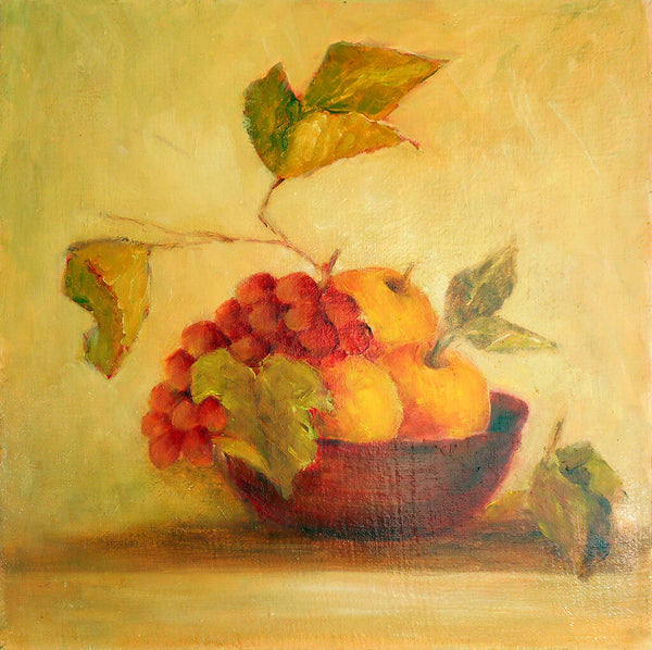 "Red bowl with grapes and apples - oil on canvas 14"" x 14"""