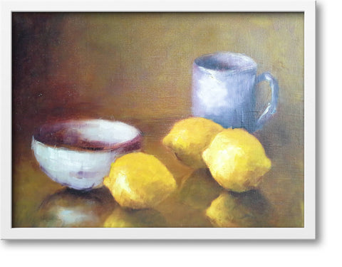 "Lemons with blue cup and white bowl - oil on canvas, 8"" x 10"", sold without a frame"
