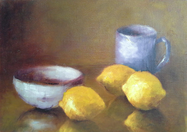 "Lemons with blue cup and white bowl - oil on canvas, 8"" x 10"", detail"