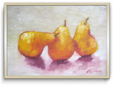 "Three yellow pears - oil on canvas 9"" x 12"", sold without a frame"
