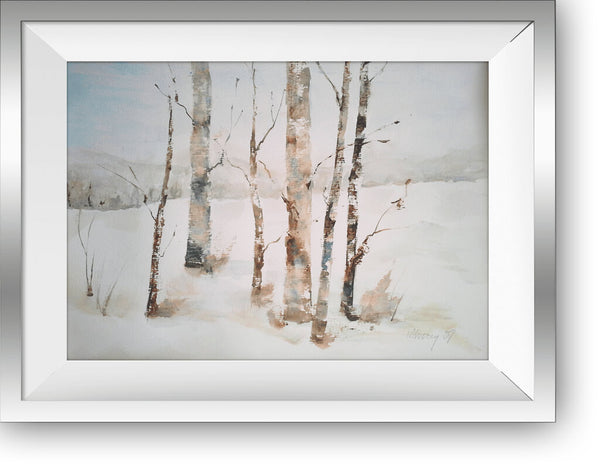 "Aspen trees in Winter  - watercolor on heavy paper - 14"" x 11"", sold without a frame"