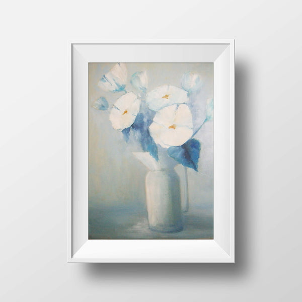 "White flowers in a white vase - oil on canvas, 16"" x 20"", sold without a frame"