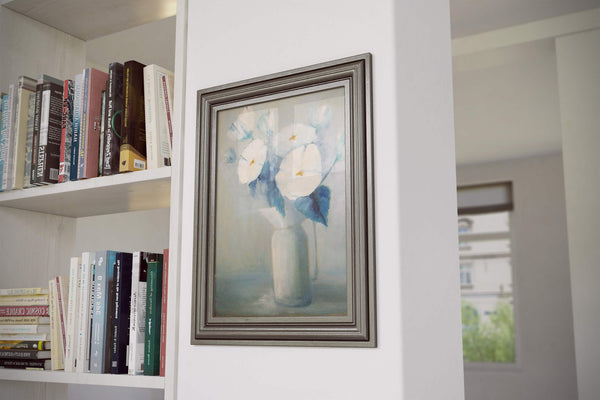 "White flowers in a white vase - oil on canvas, 16"" x 20"", sold without a frame - room view"
