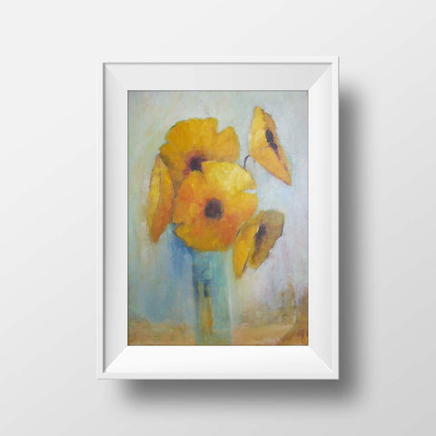 "Yellow flowers in a blue vase - oil on canvas, 14"" x 18"", sold without a frame"
