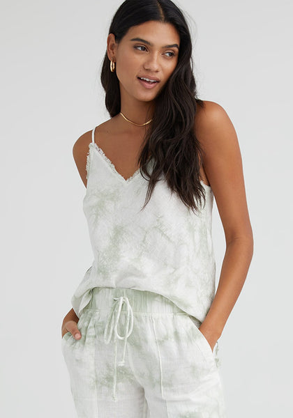 Frayed Edge Camisole- Soft Mint Tie Dye