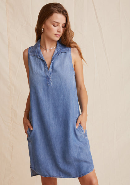A-Line Pocket Dress - Medium Wash