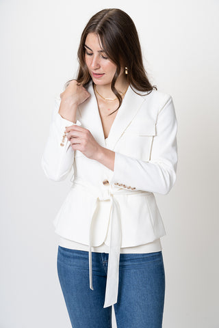 Grana Safari Belted Jacket- Ivory