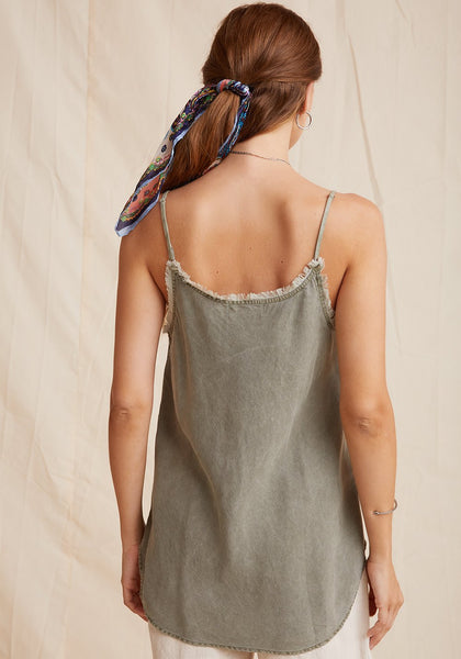 Bella Dahl Frayed Cami - Soft Army