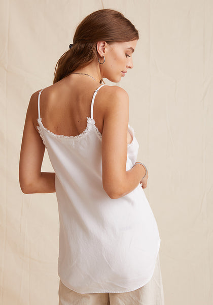 Fray Edge Cami - White