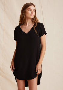 V-Neck Tee Dress - Vintage Black