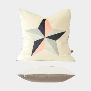 "Pink Star Velvet Pillow Cover 18"" x 18"""