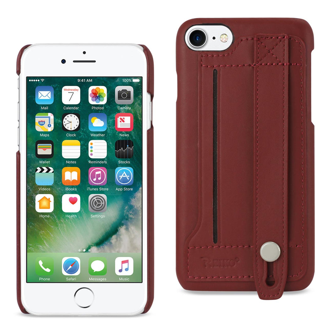 Reiko iPhone 8/ 7 Genuine Leather Hand Strap Case In Burgundy