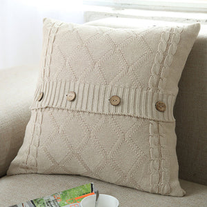 Knitting Button Fashion Throw Pillow Cases Cafe