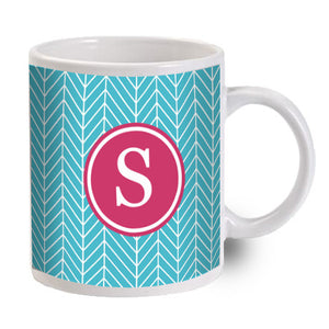 Monogram Mug - Blue and White Chevron