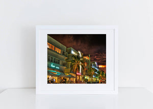 Art Deco District Night Ocean Drive Miami Print
