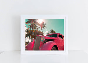 Classic 1920s Vintage Car on Ocean Drive Art Print
