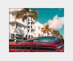 Shelby Cobra Classic Car on Ocean Drive Art Print