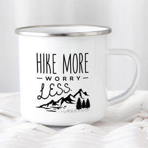 Hiking Gift for Hiker Enamel Mug Wanderlust