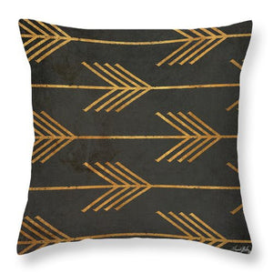 Gold Arrow Modele II Throw Pillow