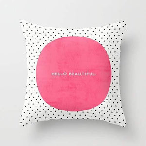 PINK HELLO BEAUTIFUL POLKA DOTS Pillow