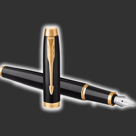 Personalised Parker IM Black Gold Trim Fountain Pen