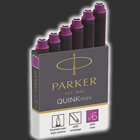 Parker Quink Mini Fountain Ink Cartridges x6 PINK