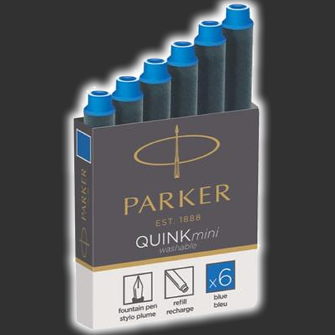 Parker Quink Mini Fountain Ink Cartridges x6 Blue