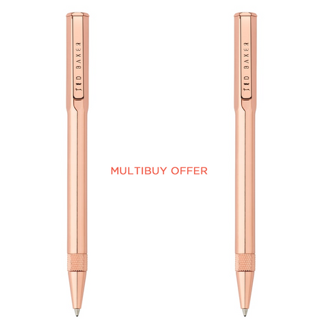 (Multibuy offer) x2 Rose Gold Plated Ballpoint Ted Baker Pen