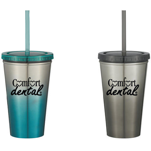16 Oz. Stainless Steel Double Wall Chroma Tumbler With Straw (Pack of 48)