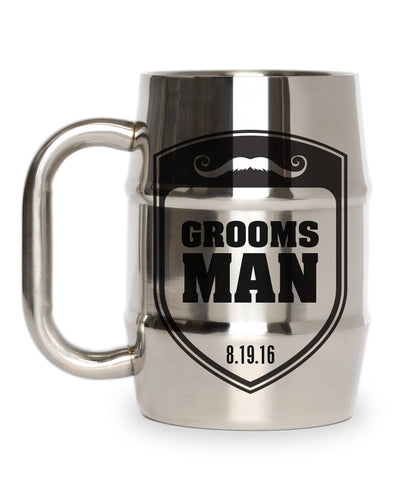 Groomsman Gift Shield With Mustache