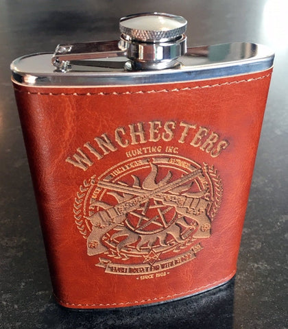 Supernatural Winchesters Leather covered Flask, 8 oz. Personalized available
