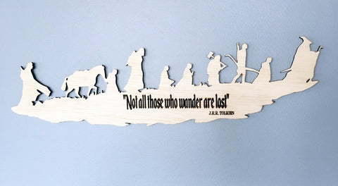 Lord of the Rings Fellowship and The Hobbit Silhouette Wall Art, woodwork