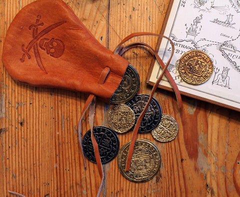 "Pirate Coins with small leather ""purse"", great for Medieval Fantasy Cosplay, Pirate Booty"