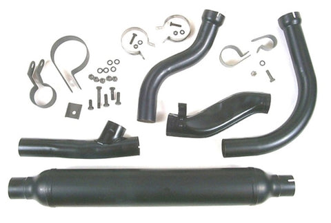 1950-1957 PANHEAD 2-1 COMPLETE BLACK EXHAUST SYSTEM WITH SEAMED MUFFLER USA MADE