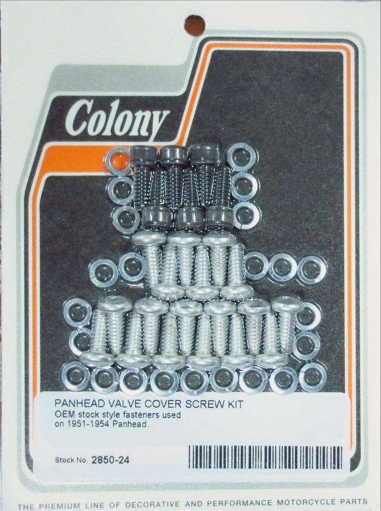 2850-24 PANHEAD VALVE COVER SCREW KIT FOR 17507-51 1951-1954 STEEL D-RINGS CAD & PARK