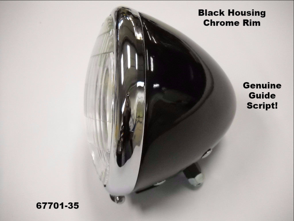 "67701-35 4901-35 KNUCKLEHEAD PANHEAD REPLICA ""GUIDE"" BLACK HEADLAMP ASSEMBLY"